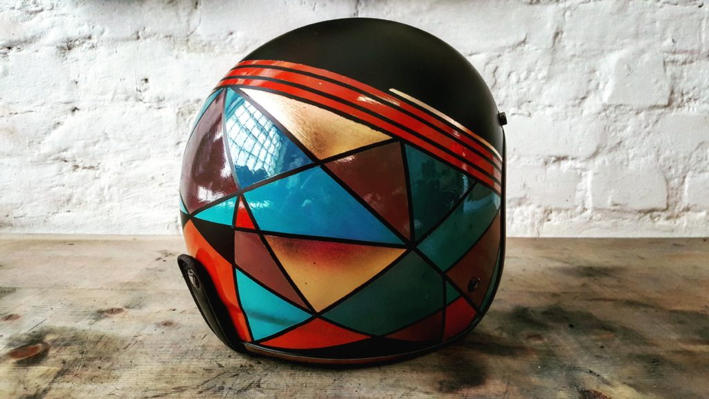 Unique painting for graphic custom motorcycle helmet inspired by abstract art