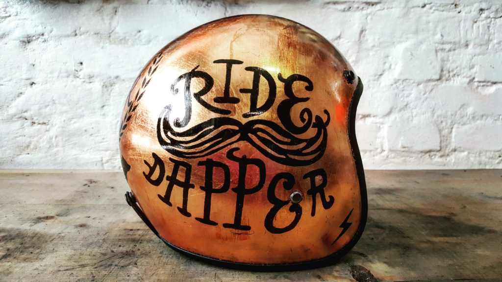 Custom motorcycle helmet with copper