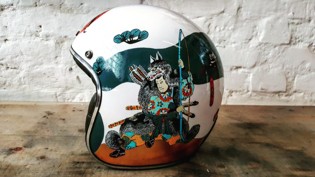 Custom motorcycle helmet with japanese art