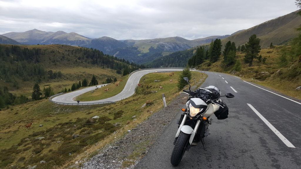 Moto rider touring in Austria