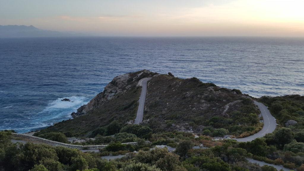 Moto rider touring in Corsica