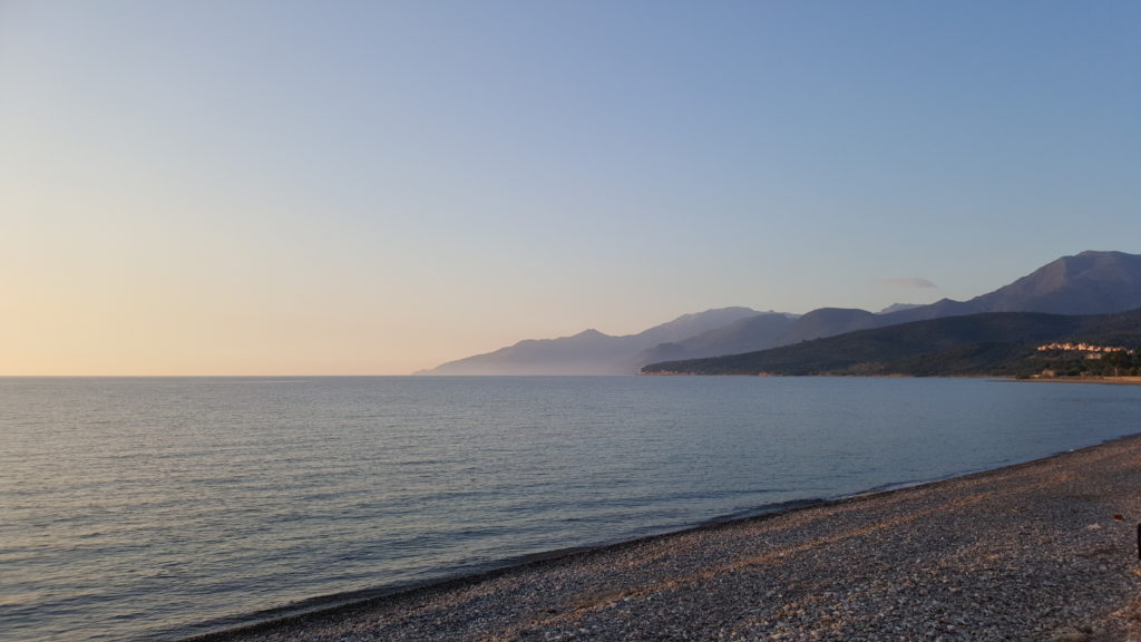 Sunset on the beach - Motorcycle touring in Corsica