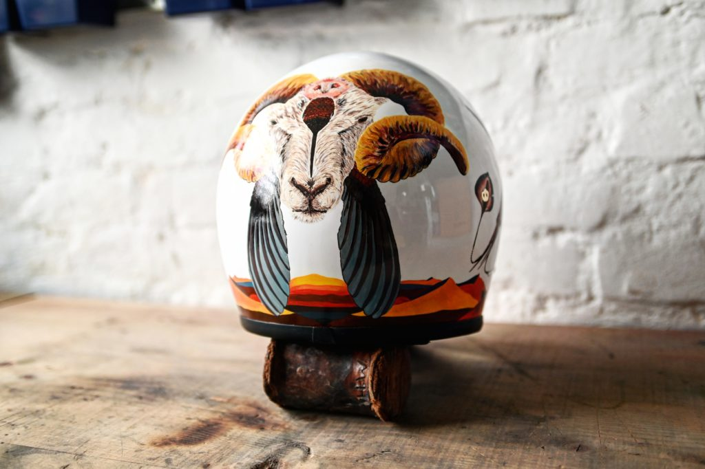 unique painting for custom motorcycle helmet inspired by the symbolism of animals