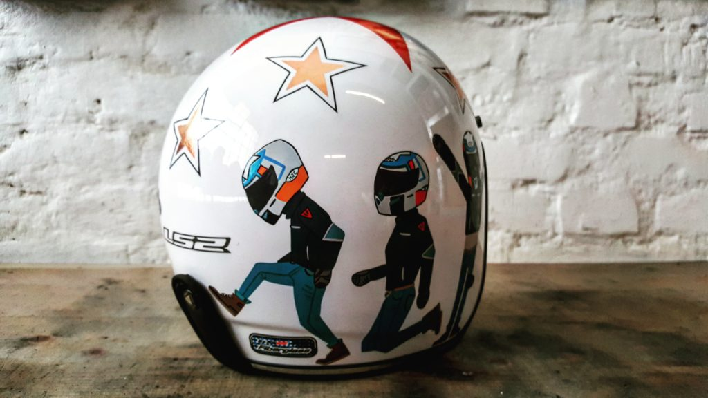 Unique painting for custom motorcycle helmet inspired by flat design