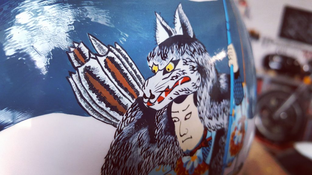 Unique painting for custom motorcycle helmet inspired by japanese art