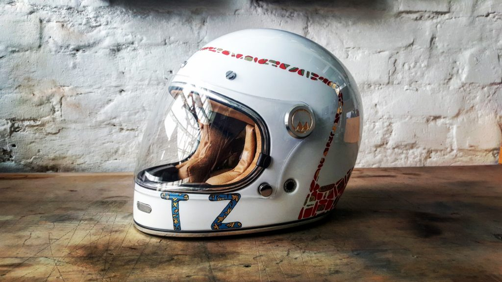 Art nouveau and mucha motorcycle helmet creation