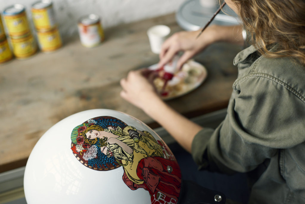 Art created on helmet and motorcycle A-moto